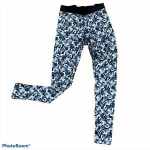Nike Pro Black White Full Length Leggings M Warm